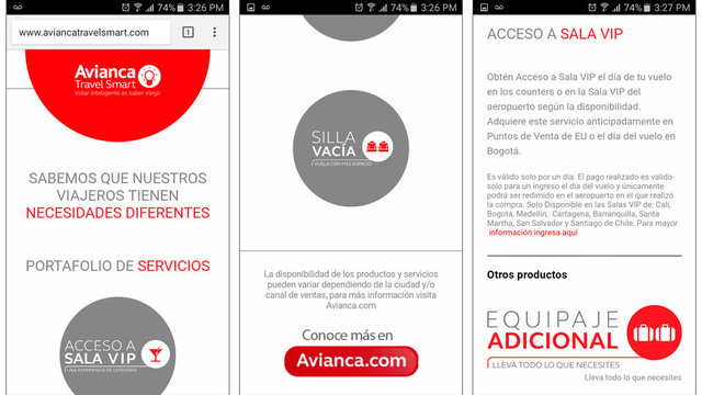 Sitio web avianca travel smart 04